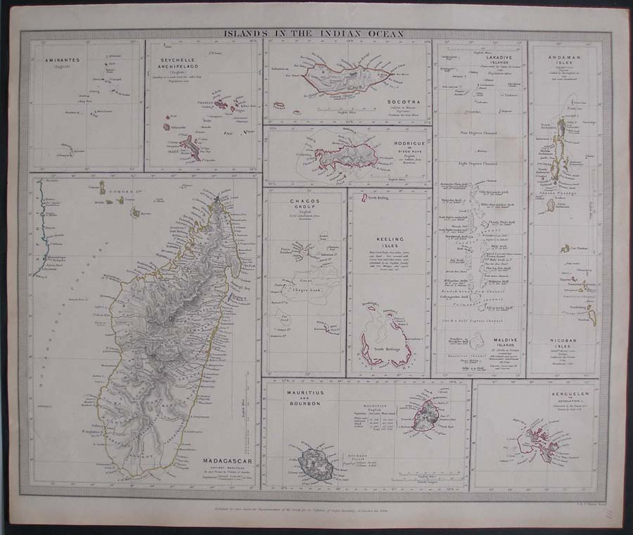 Details About 1844 Map Indian Ocean Islands Madagascar Mauritius Maldives Seychelle Chagos Etc